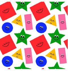 funny geometric shape cartoon seamless pattern vector image