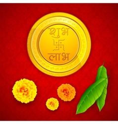 Gold Coin with Shubh Laav vector