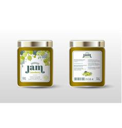 Gooseberry jam label jar packaging sugar free vector