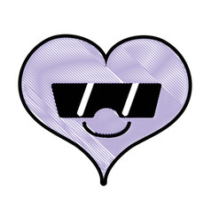 Grated smile heart passion kawaii with sunglasses vector