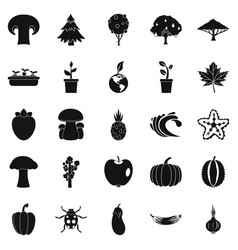 Greengrocery icons set simple style vector