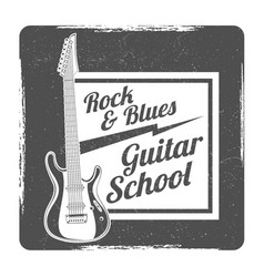 Guitar school grunge logo design vector