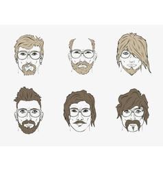 Hair and beard on sketch vector