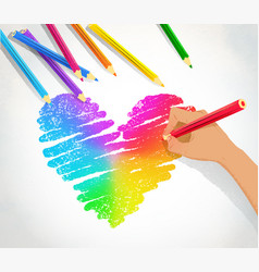 Hand drawing rainbow heart vector