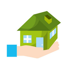 Hand with house architecture design icon vector