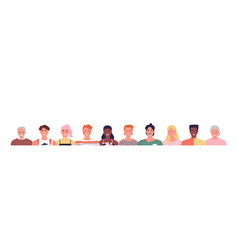 happy diverse people face set isolated background vector image