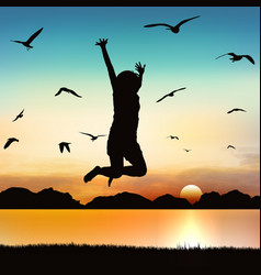 happy girl jumping on silhouette art vector image