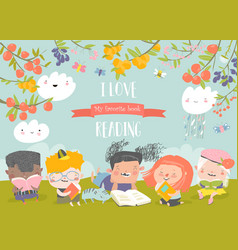 happy kids reading books on green meadow vector image