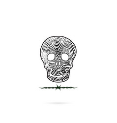 human skull silhouettes with fingerprint and vector image