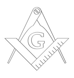 icon with masonic square and compasses vector image