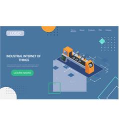 Industrial internet things landing page vector