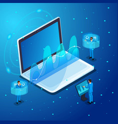 isometric businessmans work with gadgets vector image