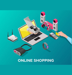 Isometric gadgets online shopping concept vector