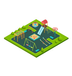 Isometric kids summer playground with childrens vector