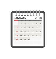 january 2018 calendar calendar notebook page vector image