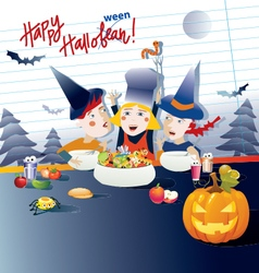 kids cooking halloween dishes vector image