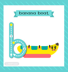 Letter b lowercase tracing banana boat vector