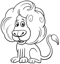 lion comic animal character cartoon color book vector image