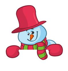 little cute smiling snowman cartoon vector image