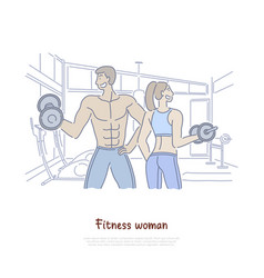 man and woman working out in gym vector image
