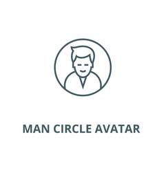 man circle avatar line icon linear concept vector image