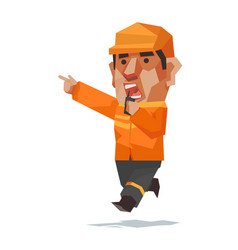 Man in rescue uniform use the radio cartoon vector
