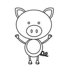 Monochrome contour with male pig vector