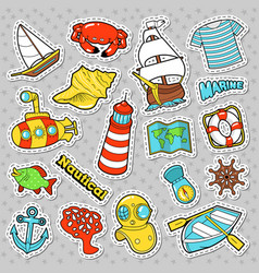 Nautical marine life doodle with fish submarine vector