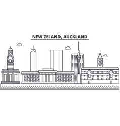 New zeland auckland architecture line skyline vector