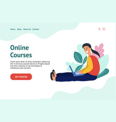 Online courses concept with a man learning vector