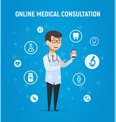 Online medicine doctor with vector