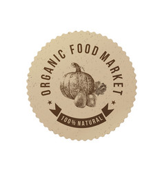 Organic food market round paper emblem vector