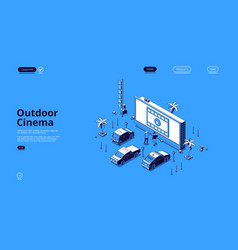 outdoor cinema isometric landing movie theater vector image
