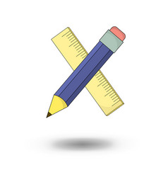 pencil and ruler - school objects - in cartoon vector image