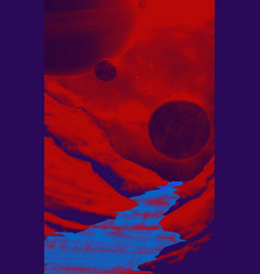 red alien landscape with mountain and planet vector image
