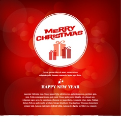 Red Merry Christmas greeting card vector
