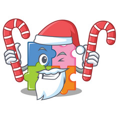 Santa with candy puzzle mascot cartoon style vector