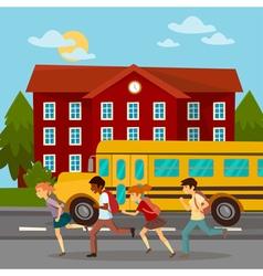School Building Scholars Running to School vector