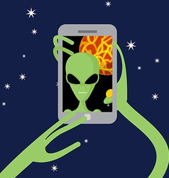 Selfie space Alien shoots himself on phone against vector