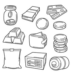 Set banking and money icons business vector