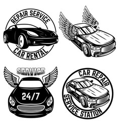 set emblems with cars repair service car vector image