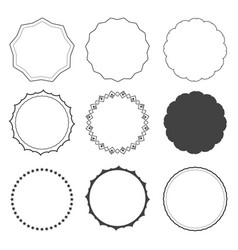 set nine design frames borders circles vector image