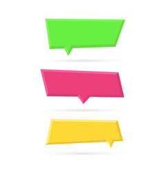 set of color empty plastic speech bubbles vector image