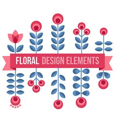 Set of design elements - retro flowers and ribbon vector