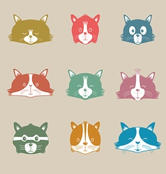 Set Of Different Adorable Cartoon Cats Face vector