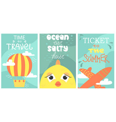 set of summer postcard with cute fish plane and vector image