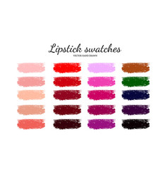 Set of various lipstick smears 4 vector