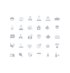set simple icons thanksgiving day vector image