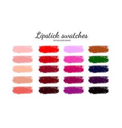 Set various lipstick smears 4 vector