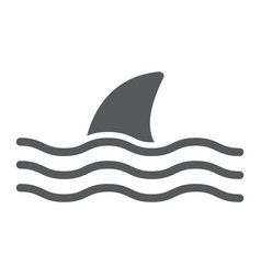 Shark glyph icon animal and underwater vector